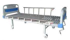 เตียงผู้ป่วยปรับระดับได้แบบใช้มือหมุน แบบ 2 ไกร์ ระบบ ABS ด้านหัวและด้านท้าย