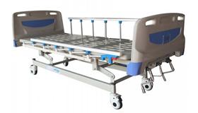เตียงผู้ป่วยปรับระดับได้แบบใช้มือหมุน แบบ 3 ไกร์ ระบบ ABS ด้านหัวและด้านท้าย